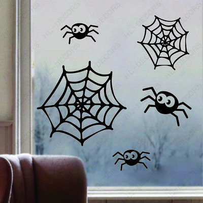Happy Halloween Spider Web Wall Stickers Removable Decor Room Decals Vinyl