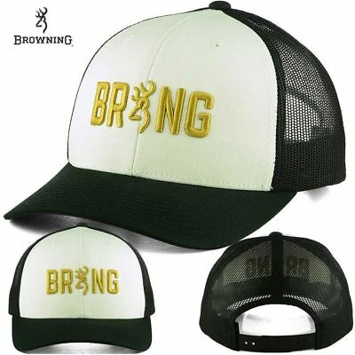 Browning Black Hat (Browning Shooting Sports Adjustable Black & White Trucker Baseball Style Cap Hat)