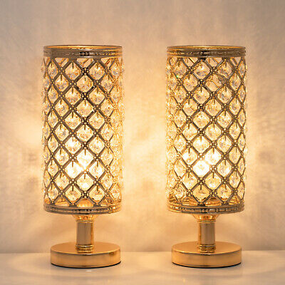 Crystal Bedside Table Lamp Set with Beaded Lamp Shade Metal Base Party -