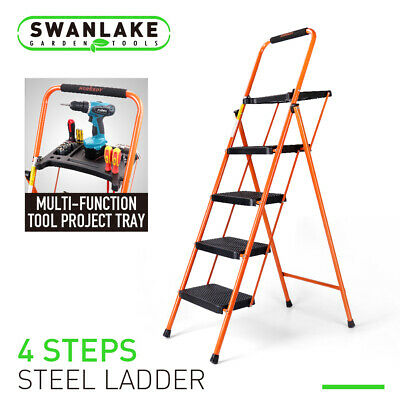 Steel 4 Step Folding Ladder Stool Tool Platform Tray Wide Anti-slip Pedal 330lbs
