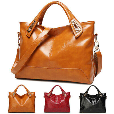 Women's Oil Wax Leather Shoulder Messenger Bag Tote Handbag Satchel Crossbody