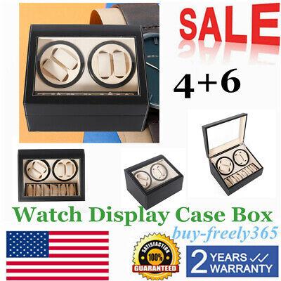 Leather Watch Winder Storage Auto Display Case Box 4+6 Automatic Rotation BLACK