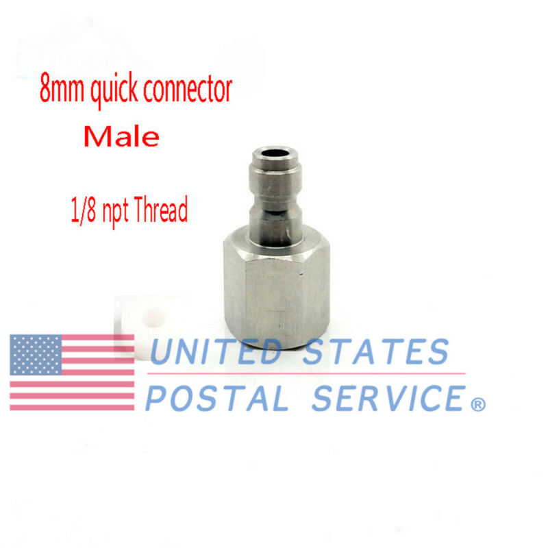 US 8mm Paintball Stainless Steel NPT1/8 Male Quick Release Disconnect Coupler