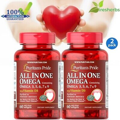 2pc#1 BEST ALL IN ONE OMEGA WITH VITAMIN D3 HEART HEALTH SUPPLEMENT 120