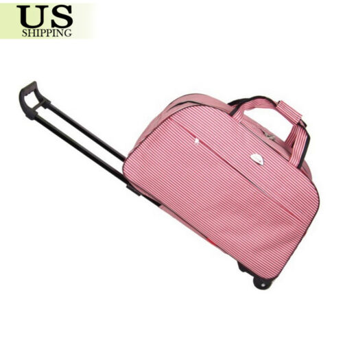 "24"" Rolling Wheeled Duffle Trolley Bag Tote Carry On Travel Suitcase Luggage"