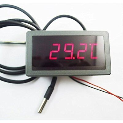 Dc 12v 0.56 Fc Led Digital Car Meter Thermometer With Ds18b20 Thermal Red