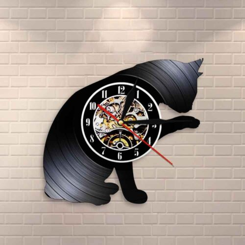 Cat Wall Clock Kitty Silhouette Cats Meow Wall Art Vinyl Record Clock Home Decor