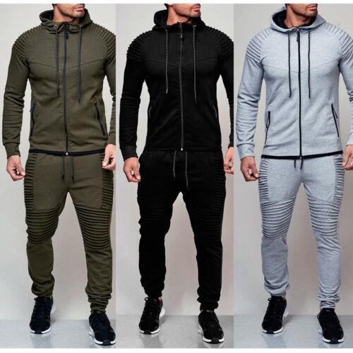 Mens Tracksuit Set Slim Fit Zip Up Hoodie Top Bottoms Jogging Joggers Gym Sweats