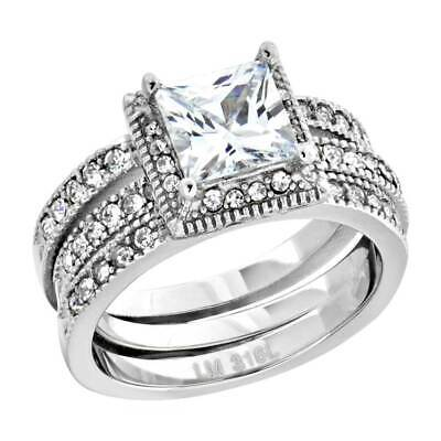 Women's Stainless Steel Princess Cut AAA Cubic Zirconia Wedding Ring Set 2.05 Ct Cubic Zirconia Stainless Steel Ring