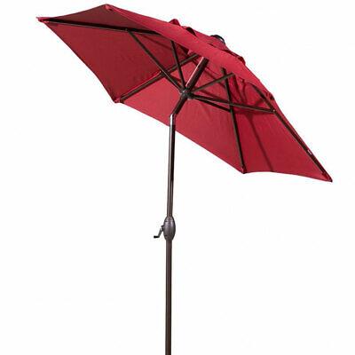 Abba 7.5 Foot Round Market Patio Umbrella w/ Push Tilt and Crank, Red (Open Box)