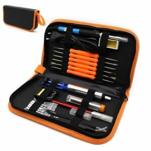 Electric Soldering Iron Tool Kit with PU Carry Case 110V 60W Adjustable Tempe