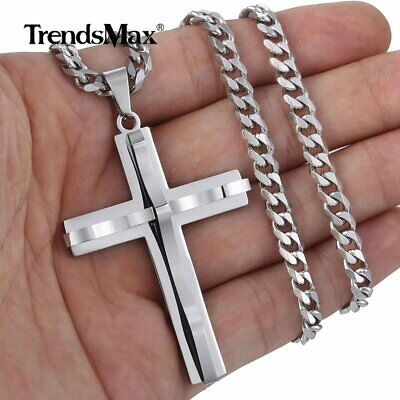 Silver Cross Charm Pendant Necklace 5mm Stainless Steel Curb Cuban Chain 18-36'' ()