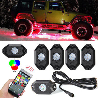 - 4x New RGB LED Rock Lights Wireless Bluetooth Music Flashing Multi Color Offroad