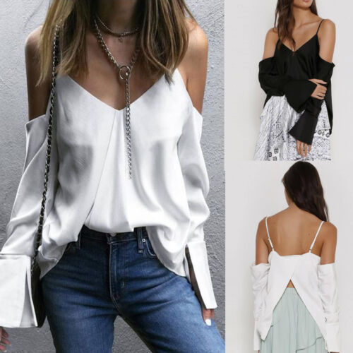 Women Camisole Pure Color V-Neck Split Tops Sling Horn Long Sleeves Sexy Blouse