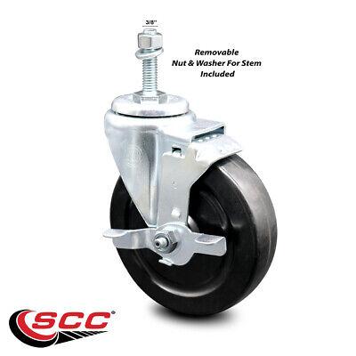 Hard Rubber Swivel Ts Caster W5 Wheel 38 Stem Wbrake
