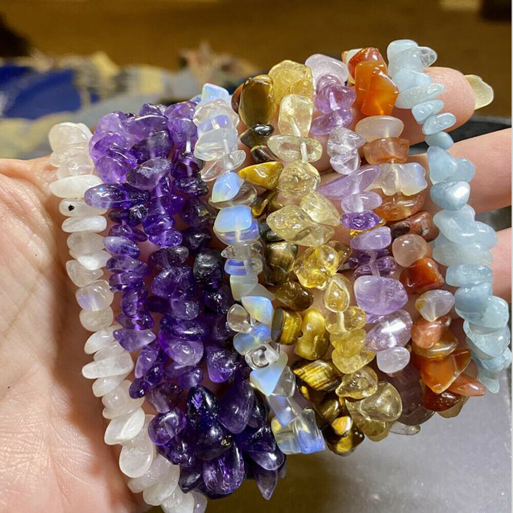 Jewellery - Natural Gemstone Crystal Chip Beads Stretchy Bracelet Healing Reiki Chakra