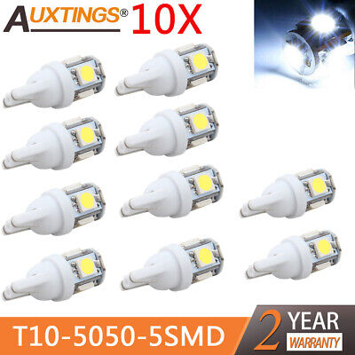 10X/lot T10 5050 5SMD LED White Light Car Side Wedge Tail Light Lamp Bright 2019