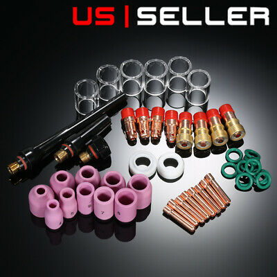 49x Tig Welding Torch Stubby Gas Lens 10 Pyrex Glass Cup Kit For Wp-171826 Us