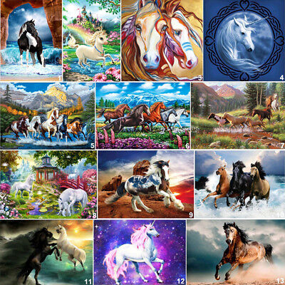 Horse Cross Stitch - Seaside Horse DIY 5D Diamond Painting Unicorn Cross Stitch Kits Home Decor Art