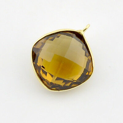 16.5mm14k Gold Filled Whisky Quartz Bezel Station Charm