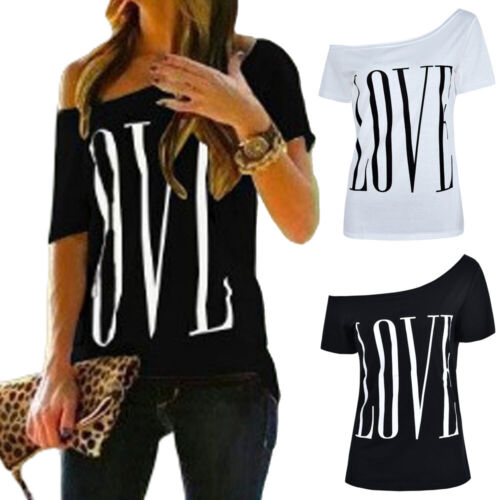 Damen Schulterfrei T-shirt Casual Tunika Top Slim Kurzarm Oberteile Bluseshirt