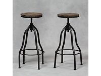 Pair of Industrial Iron and Wood Adjustable Bar Stools