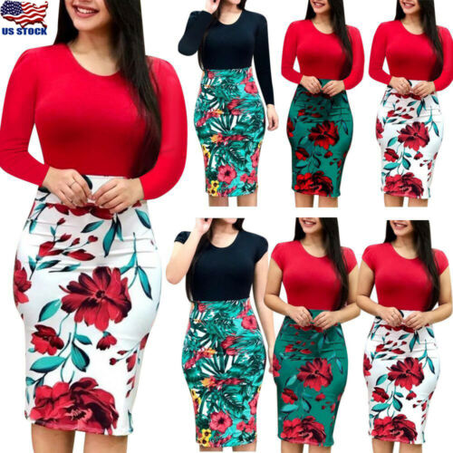 Plus Size Womens Long/Short Sleeve Floral Boho Party Bodycon