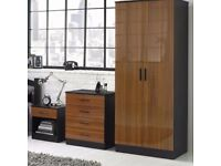 Wood Effect Gloss 3 Piece 2 Door Wardrobe Chest and Table Bedroom Set Furniture - Walnut/Black