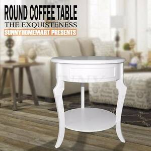 White wooden round bed side stand cabinet lamp stand 2 level Derrimut Brimbank Area Preview
