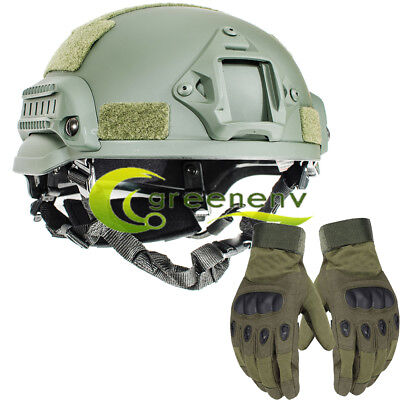 Military tactical MICH2002 Simplified Action type combat helmet airsoft w/ Glove