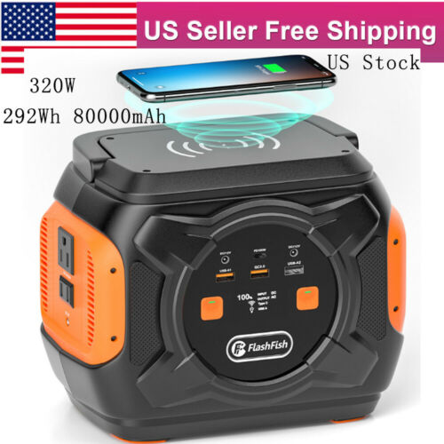 320W 80000mAh Solar Generator Wireless Charger Backup Battery CPAP QC3.0 Type-C