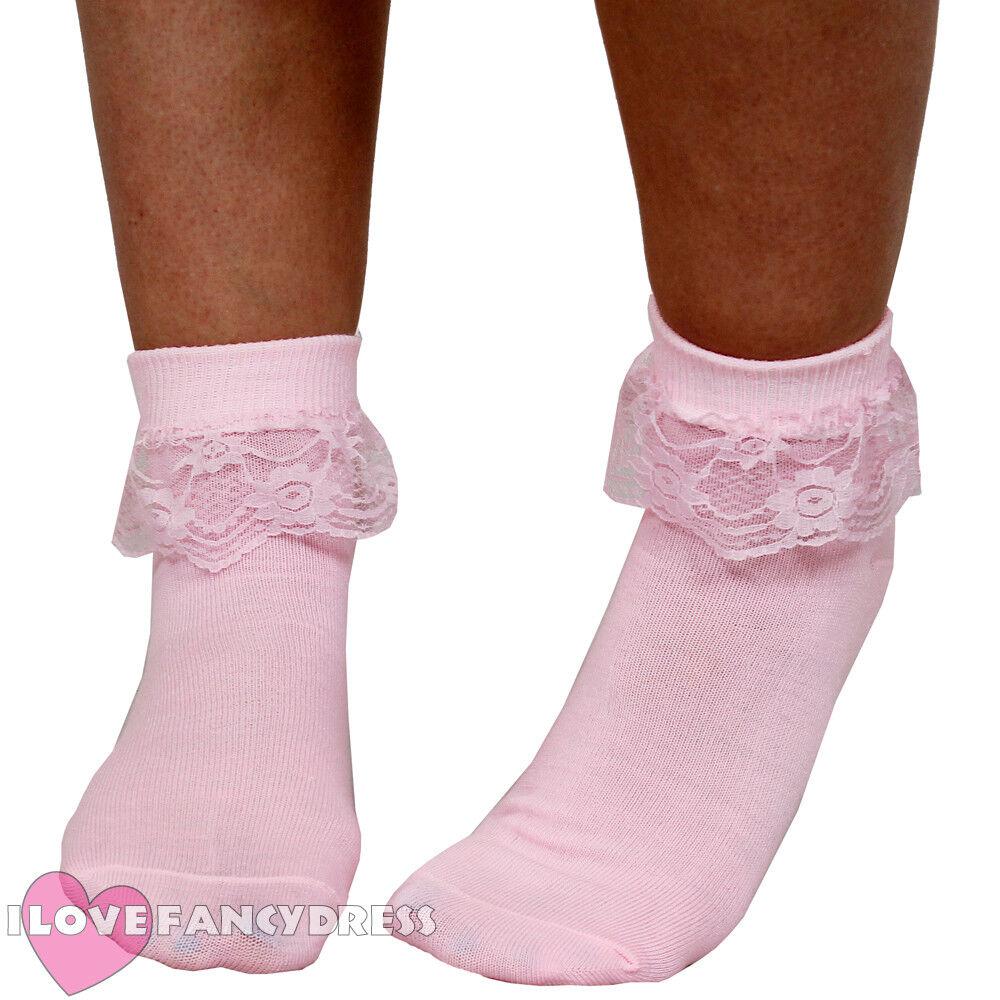 Pink Bobby Socks 1950 S Rock N Roll Fancy Dress Lace Trim