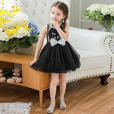 Kids Girl Toddler Kitty Cat Birthday Party Tutu Dress Fancy Costume Tulle Skirt