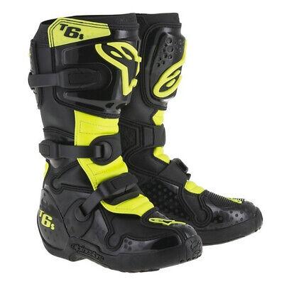 ALPINESTARS TECH 6S YOUTH MOTOCROSS MX BOOTS BLACK / NEON  Alpinestars Tech 6s Youth Boots