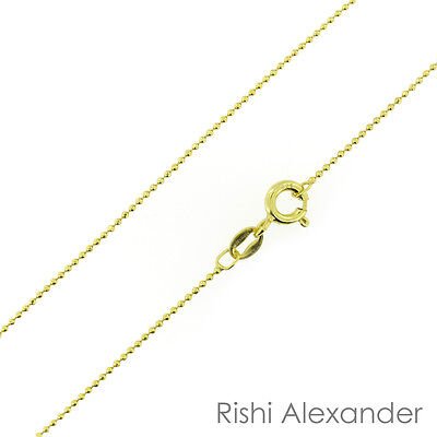 14k Gold over 925 Sterling Silver Ball Bead Diamond Cut 1mm Chain Necklace - Gold Bead Necklaces