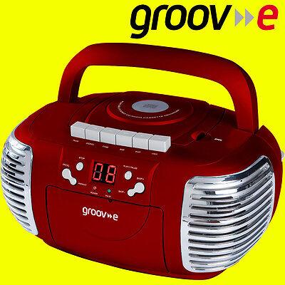 Groov-e GVPS813 RED Retro CD Player AM/FM Radio Cassette Boombox Aux Input + AUX