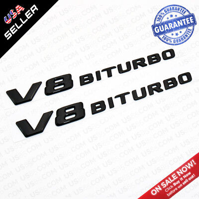 Black+Red V8 BiTurbo 4Matic Plus AMG Logo Fender Side Marker Emblem Badge
