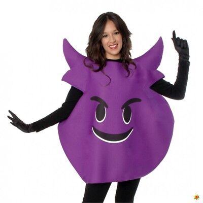 Emoticon Kostüm böses Gesicht lila Einhgr. Smiley Strichmännchen Neue - Nicht Böse Kostüm