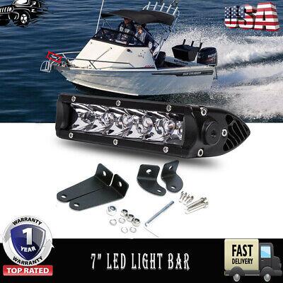 "7"" Single Row LED Light Bar Marine Wakeboard Boat Tower SPOT 4X4 Off-Road"