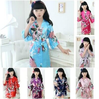 Satin Summer Kimono Bathrobes For Kids Short Sleeves Flower Girl Dress
