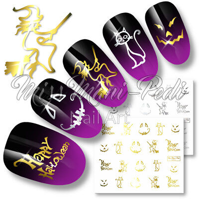 Halloween Nails Water Nail Decals Stickers Transfers Gold/Silver Witch Cat - Cat Halloween Nails