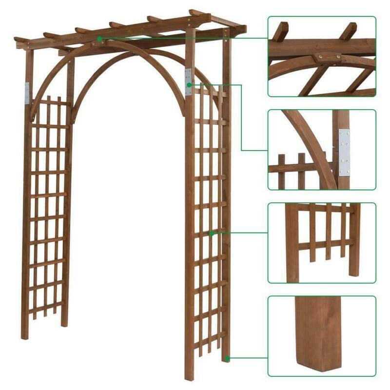 Wooden Garden Arch Trellis Pergola Arbor Over 8FT High Patio Plant Outdoor