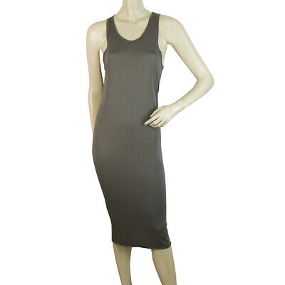 Isabel Benenato Gray Bodycon Calf Length Sleeveless Tank Dress sz 44