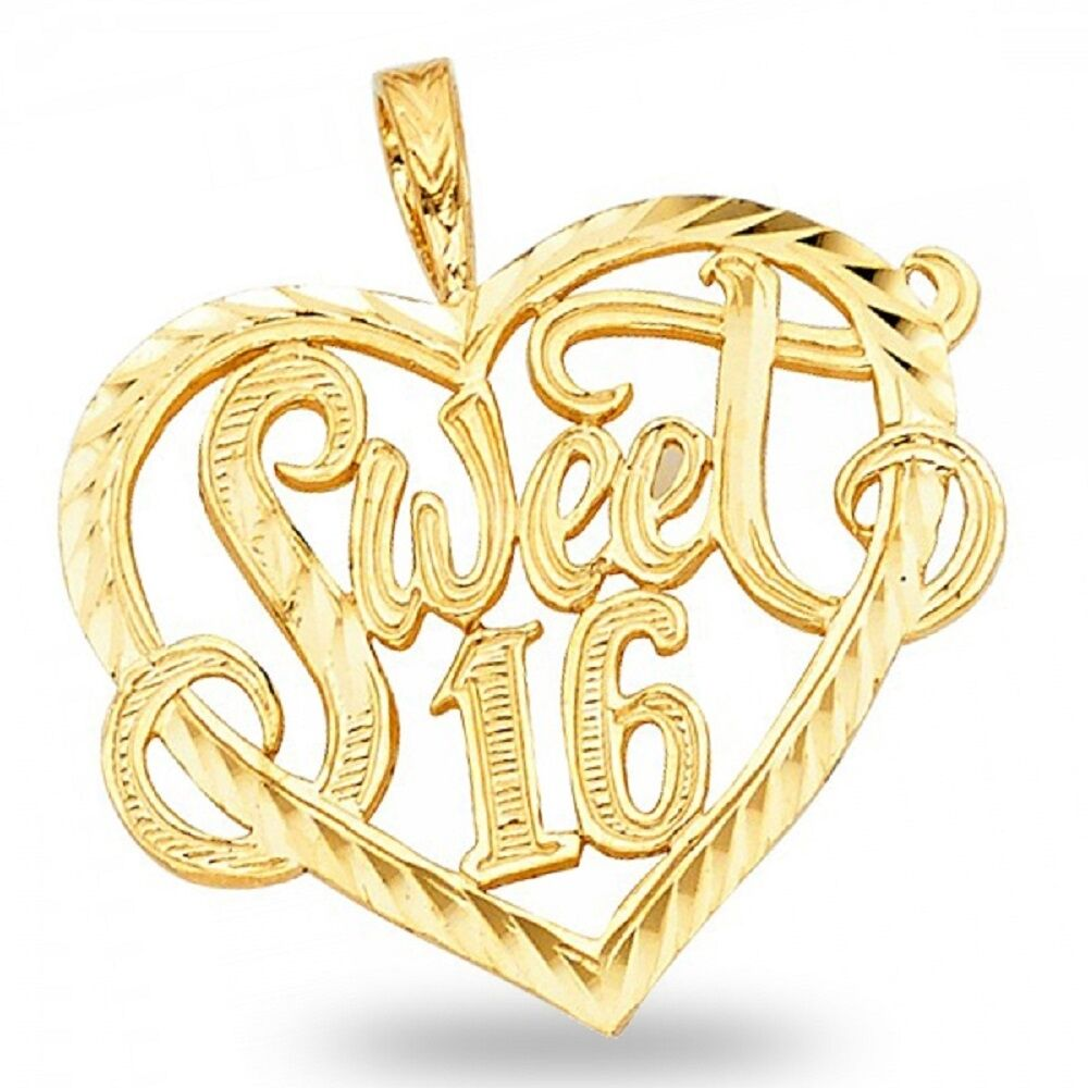 14K Solid Yellow Gold Sweet 16 Heart Charm Pendant