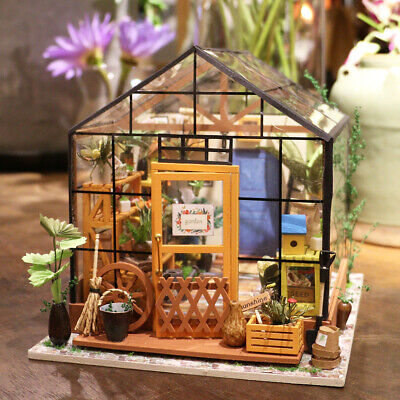 Robotime Miniature 3d Greenhouse Craft Kits for Adults Dolls House Furniture Toy