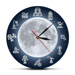 Space Travel Moon Wall Art Modern Silent Clock Outer Space Astronaut Round Watch