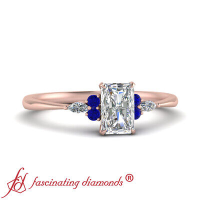 .75 Carat Radiant Cut Diamond & Sapphire Gemstone 7 Stone Wedding Ring FLAWLESS