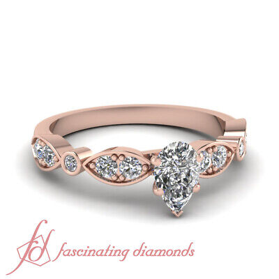 1 Carat Pear Shaped Womens Diamond Engagement Ring In Rose Gold GIA Certified