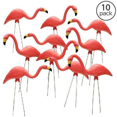 10-Pack Plastic Pink Flamingo Yard Ornament Lawn Garden Bird Art Fun Party Decor