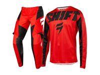 "NEW SHIFT ADULT MOTOCROSS KIT SIZE 36"" PANTS AND EXTRA LARGE JERSEY MX GEAR QUAD GEICO HONDA CR CRF"